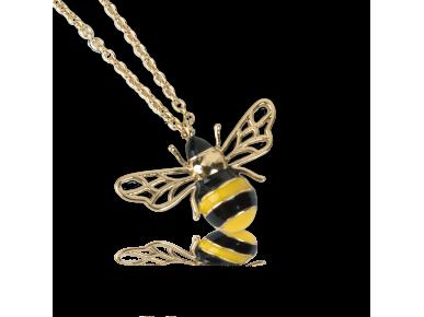 Colgante en forma de abeja dorada y esmaltada