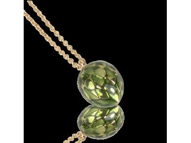 Colgante con forma de alcachofa esmaltada de color verde