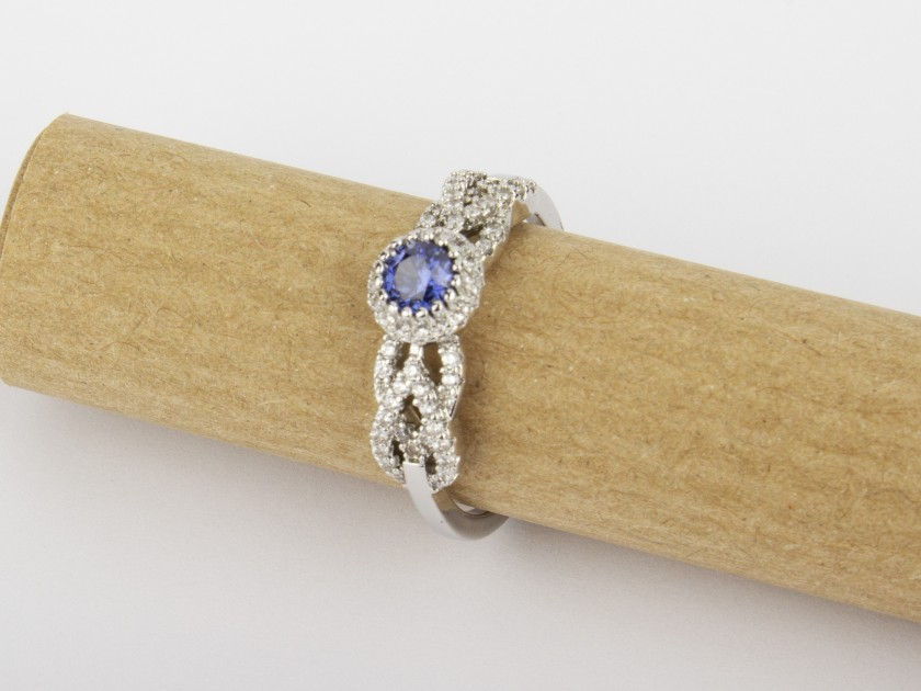 Silvery Ring set with Clear and Blue Crystals