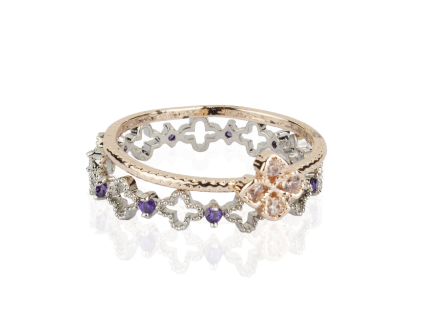 One Golden Ring set with Clear Crystals and one Silvery Ring set with Clear and Purple Crystals