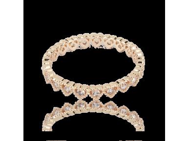 Bague dorée sertie de cristaux transparents