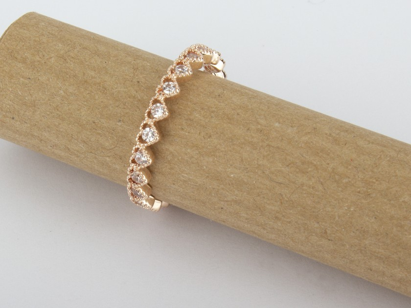 Rose Golden Ring set with Clear Crystals