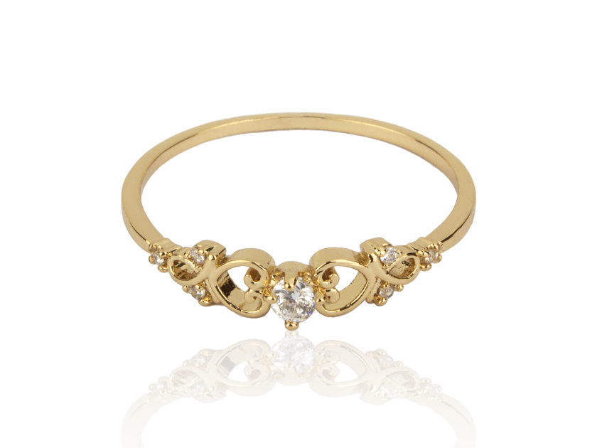 Golden Ring set with Clear Crystals