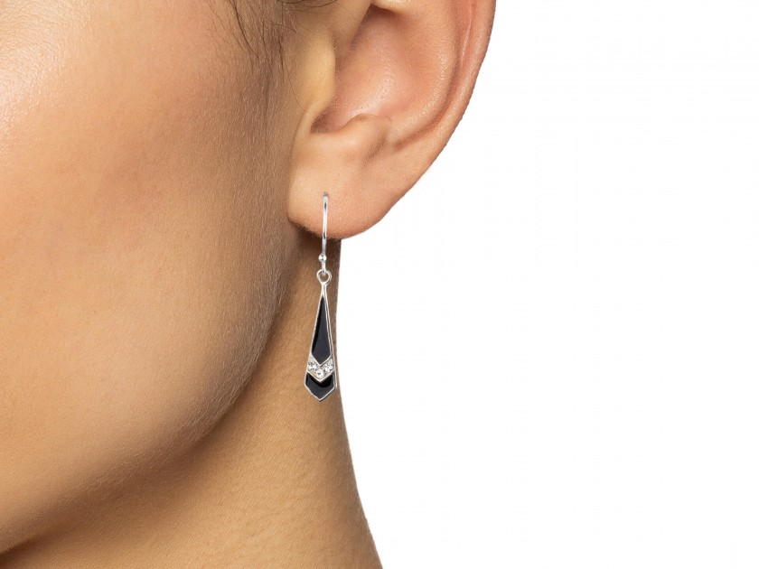 Black Enamelled Tie-shaped Earrings set with Clear Crystals