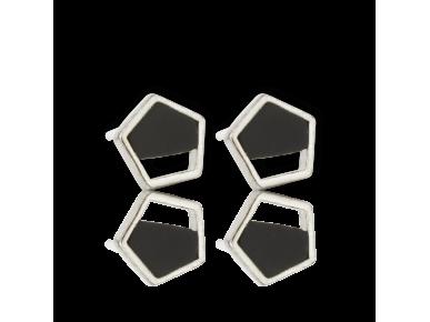 Boucles d'oreille pentagonales argentées incrustées d'onyx noir