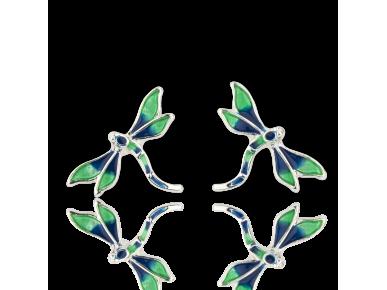 Pendientes con forma de libélulas esmaltadas en verde y azul
