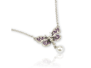 Purple Enamelled Butterfly-shaped Necklace set with Clear Crystals and a Faux Pearl Drop