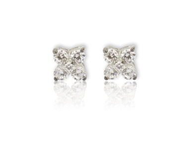 Boucles d'oreille en croix à quatre pointes serties de cristaux transparents