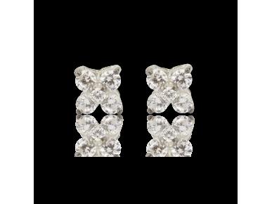 Pendientes con forma de cruz de cuatro puntas con cristales transparentes