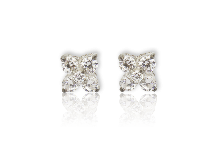 Four Point Earrings set with Clear Crystals