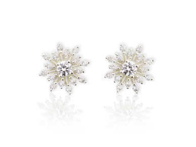 Starburst-shaped Earrings set with Clear Crystals