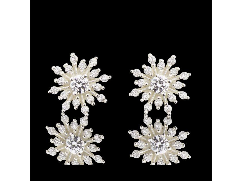 Boucles d'oreille en forme d'étoiles rayonnantes serties de cristaux transparents
