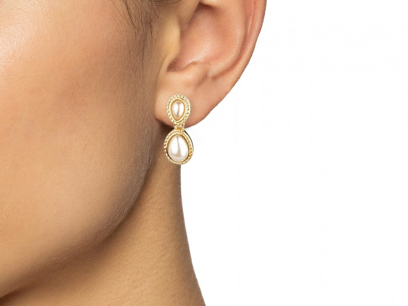 Two pairs of Golden Earrings set with Faux Pearls