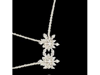 Pendentif en forme de flocon de neige serti de cristaux transparents