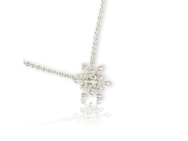 Snowflake-shaped Pendant set with Clear Crystals