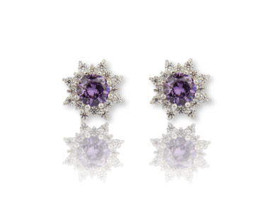 Round Earrings set with Clear and Purple Crystals