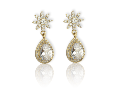 Golden Drop Earrings set with Clear Crystals