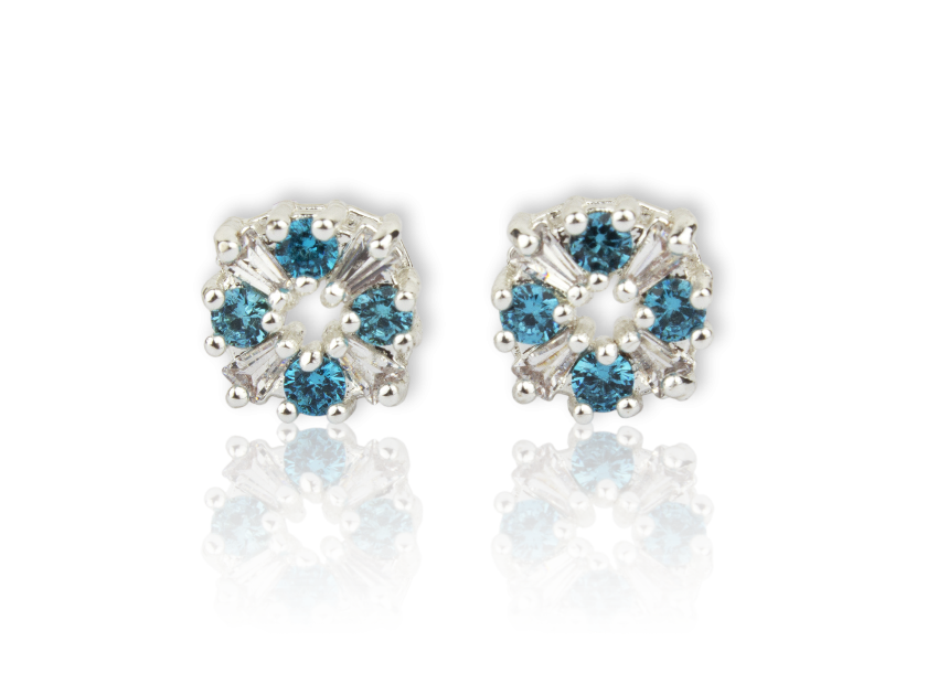 Round Earrings set with Clear and Light Blue Crystals