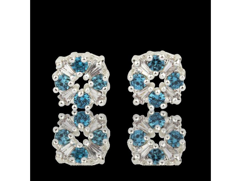 Pendientes de cristal transparente y azul claro