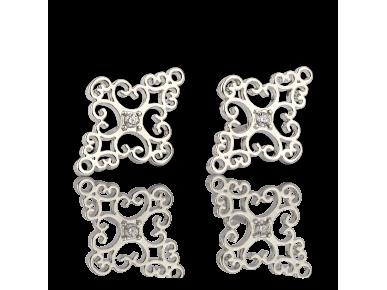 Silvery Diamond-shaped Stud Earrings