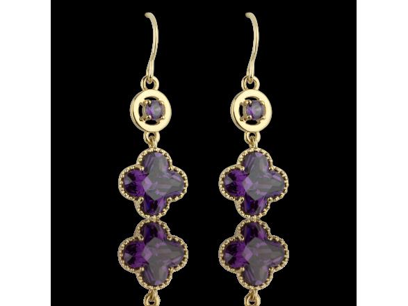 Golden Quatrefoil-shaped Drop Earrings set with Purple Crystals