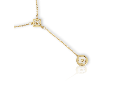 Golden Necklace with Quatrefoil Motif inlaid with Mother of Pearl