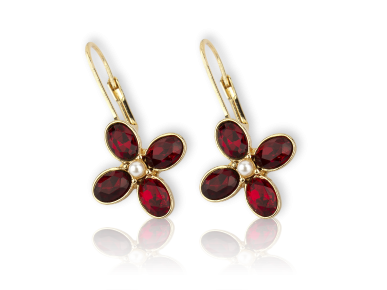 Golden Sleeper Earrings set with Red Crystals and Faux Pearls