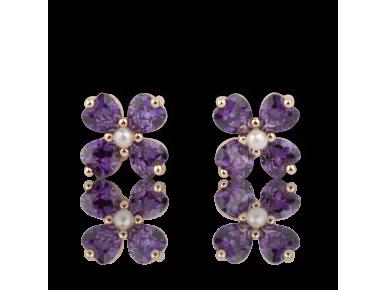 Pendientes con forma de flor de cristales púrpura