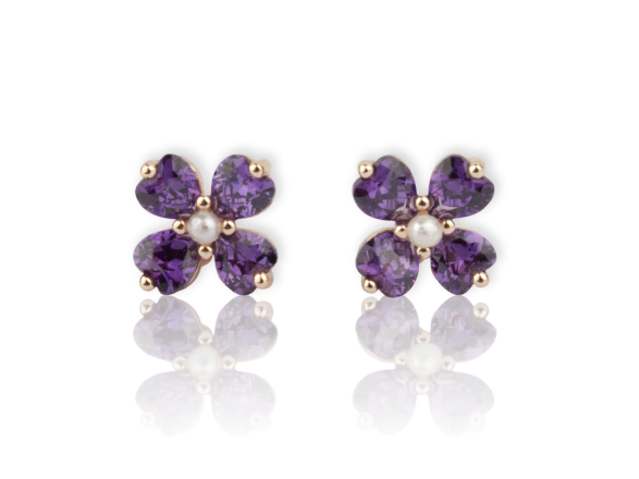 Flower-shaped Earrings set with Purple Crystals and Faux pearls
