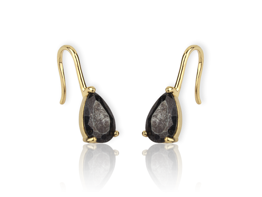 Golden Hook Earrings set with Black Glittery Crystals