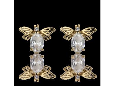 Boucles d'oreille en forme d'abeilles dorées serties de cristaux transparents