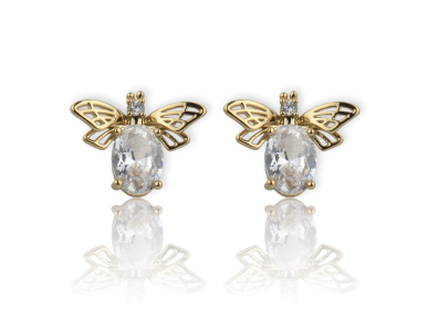 Pendientes en forma de abejas doradas con cristales transparentes