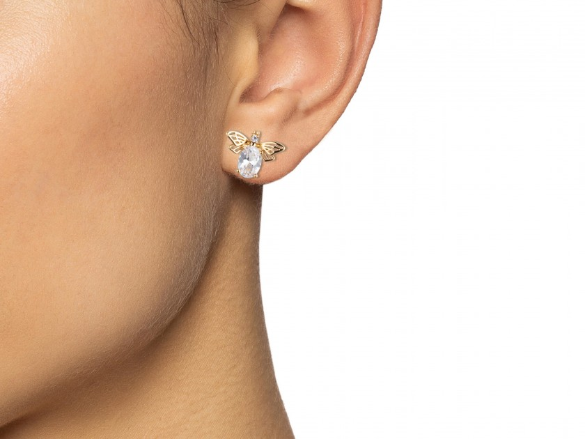 Golden Bee-shaped Stud Earrings set with Clear Crystals