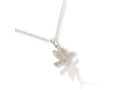 Dove-shaped Pendant set with Clear Crystals