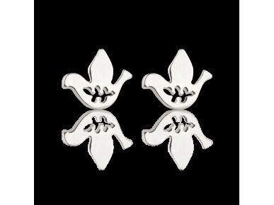 Silvery Dove-shaped Stud Earrings