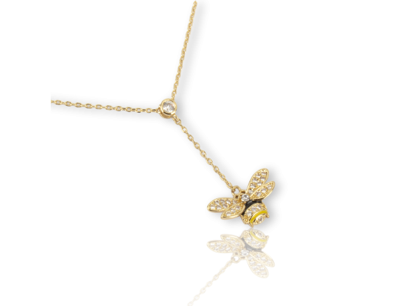 Golden Enamelled Bee-shaped Necklace set with Clear Crystals