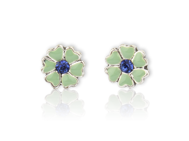 Pendientes en forma de flor esmaltada de turquesa con un cristal azul marino