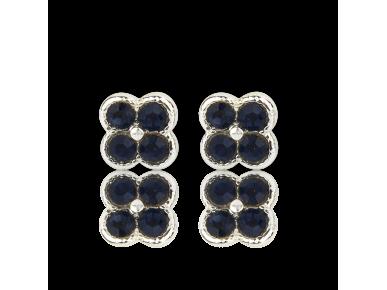 Pendientes en forma de flor plateada con cristales azul marino