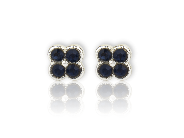 Silvery Flower-shaped Stud Earrings set with Dark Blue Crystals