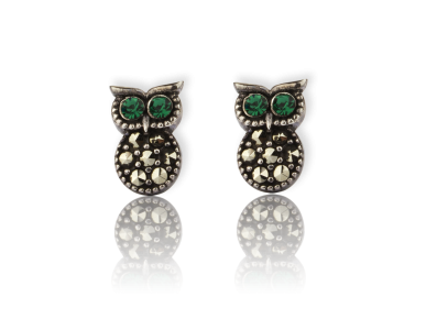 Silvery Owl-shaped Stud Earrings set with Green Crystals
