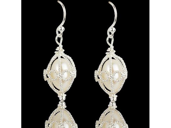 Silvery Hook Earrings with encased Freshwater Pearls