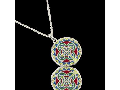 Colgante redondo esmaltado en varios colores con una cruz en el centro