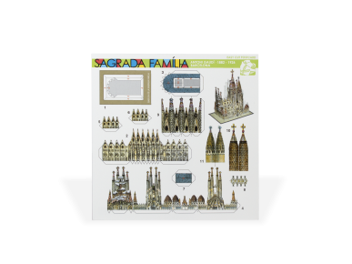 Recto of a card containing the parts to be cut out to build a mini model of the Sagrada Família