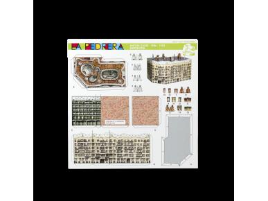 Anverso de una tarjeta que contiene las piezas a recortar para construir una mini maqueta de la Pedrera