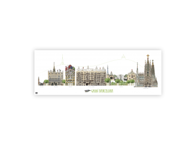 Panoramic poster of Gaudí's monuments in Barcelona