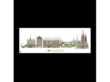 Cartel panorámico de los monumentos de Gaudí en Barcelona