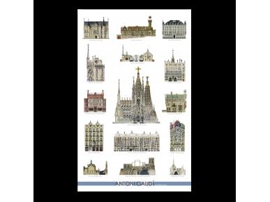 Póster con todos los monumentos de Gaudí