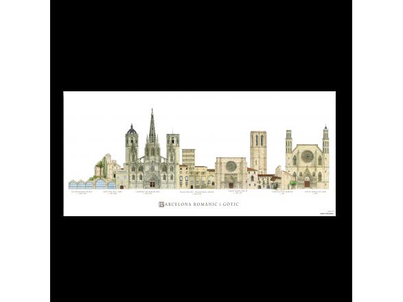 Póster de los monumentos románicos y góticos de Barcelona