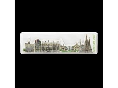 Die-cut bookmark of Gaudí's monuments in Bracelona in its plastic case