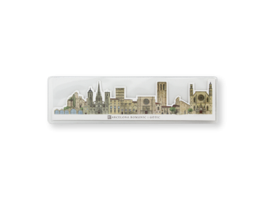 Die-cut bookmark showing the Romanesque and Gothic monuments of Barcelona in its plastic case